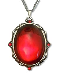 Vampire Blood Red Oval Cabochon Pendant Necklace Set in Silver Finish Pewter