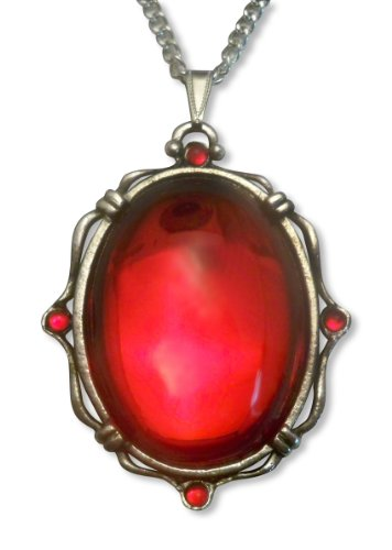 (Blood Red Oval Stone In Silver Finish Pewter Frame Pendant Necklace)