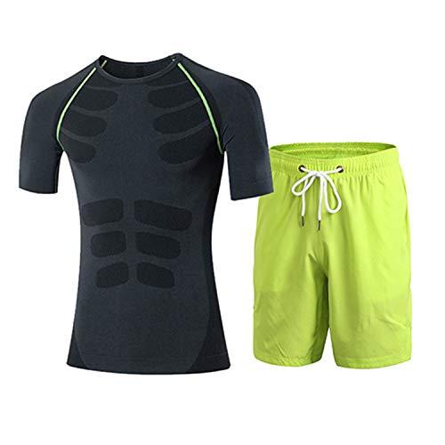 Sport Tops, Sport Running Suit for Men Tight Short T-Shirt Loose Shorts Football Training Tracksuit Gym Training Tops Green -