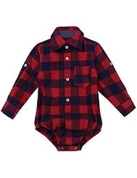d3062cf2a Toddler Boys Plaid Short Long Sleeve Button-up Bodysuit Formal Dress Shirt  Baby Gentleman Romper