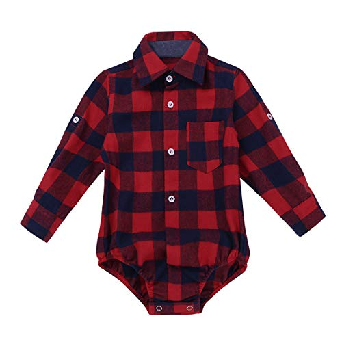 Plaid Long Sleeve Button-up Bodysuit Formal Dress Shirt Baby Gentleman Romper Wedding Party Outfits Red 9 Months ()