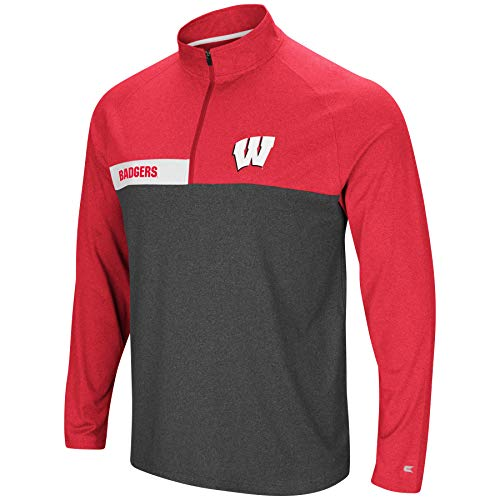 (Colosseum Men's NCAA-No Mercy-1/4 Zip Pullover Windshirt-Wisconsin Badgers-Heather Cardinal-XXL)