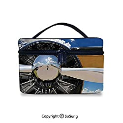 Airplane Decor Makeup Bags Water-resistant Propeller and Engine of Airplane Clouds Flight Historic Metal Oldwar Bird Transport DecorativePortable Washing Bag,9.8x7.1x5.9inch,