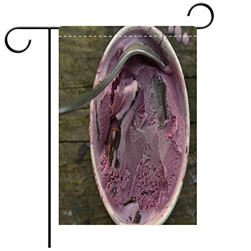 BEICICI Custom Personalized Garden Flag Outdoor Flag Black Raspberry ice Cream with Chocolate Chunks Best for Party Yard and Home Outdoor Decor