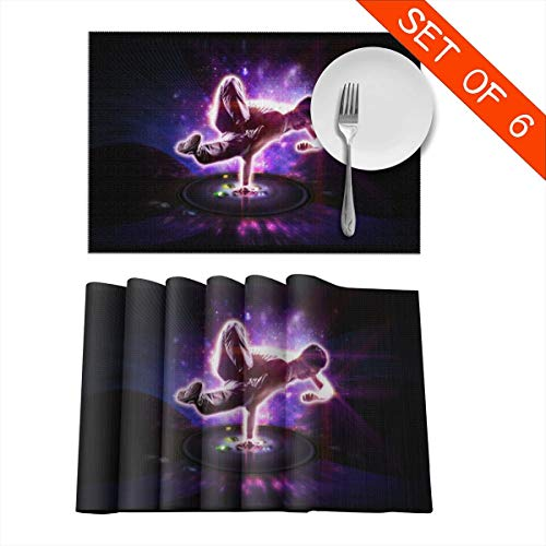 Baerg Table Mats,Placemat Set of 6 Non-Slip Washable Place Mats - CD Hip Hop Dance Heat Insulation Stain Resistant Kitchen Dining Table Mats 12x18 in]()