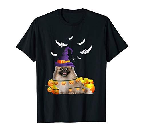 Pekingese Dog Pumpkin Light Up Halloween T-Shirt -