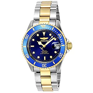 Invicta Men's Pro Diver 40mm Steel and Gold Tone Stainless Steel Automatic Watch with Coin Edge Bezel, Two Tone/Blue…