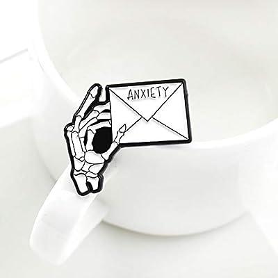 zhenleisier Brooch Pin,Men Women Anxiety Letter Skeleton Hand Enamel Brooch Pin Shirt Dress Sweater Pants Scarf Lapel Denim Jacket Collar Bag Badge Cardigan Clip White: Home & Kitchen