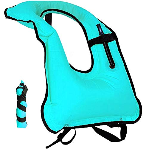 RZRZOO Inflatable Snorkel Vest Adult Snorkel Jackets Free Diving Swimming Safety Men/Women(Blue)