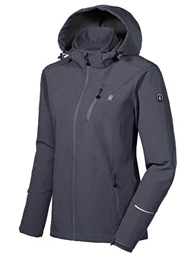 Little Donkey Andy Women's Softshell Jacket Ski Jacket with Removable Hood, Fleece Lined and Water Repellent Black Heather Size S