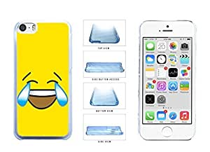 Bright Yellow Laughing Crying Smiley Face Clear Plastic Phone Case Back Cover Apple iPhone 5c