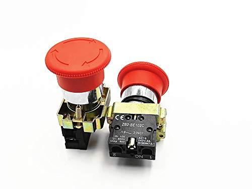 LYM 1PCS NC Latching Red Sign Mushroom Emergency Stop Push Button Switch