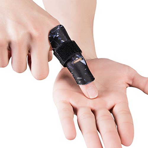 Finger Support - Kuangmi Finger Sleeve Support Protector Finger Splint Brace Pain Relief for Basketball Volleyball Baseball (S/M(Single), Black)