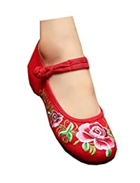 Tianrui Crown Chinese Embroidered Floral Shoes Women Mary Jane Flat Ballet Cotton Loafer