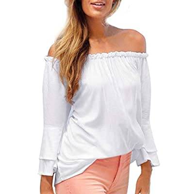 TWGONE Off Shoulder Tops for Women Long Sleeve Elastic Flare Sleeve Blouse T-Shirt