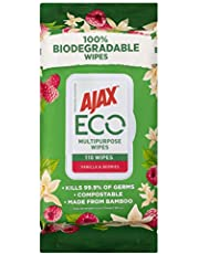Ajax Eco Antibacterial Disinfectant Surface Cleaning Wipes, Bulk, Vanilla & Berries, Multipurpose, Biodegradable and Compostable, Made with Bamboo Fibres, 110 Count