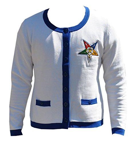 """Order of the Eastern Star"" Women's Heavyweight Cardigan XL White"