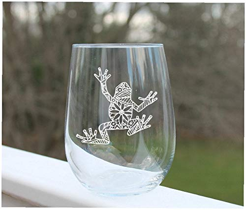 Etched stemless wine glass etched with frog floral design custom engraved (Etched Floral Wine Glasses)