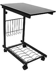Bedzijde boven bed Computer Laptoptafel, praktisch multifunctioneel gebruik Boven bedbank Laptop met afneembare wielen en mand om te werken Dineren Studeren