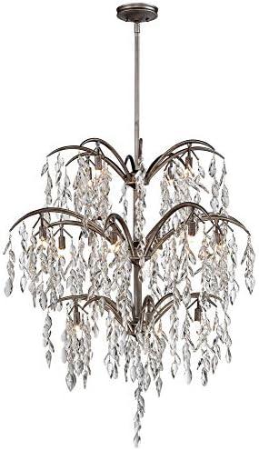 Minka Metropolitan N6867-278 Bella Flora – Sixteen Light Chandelier, Silver Mist Finish with Frosted Glass