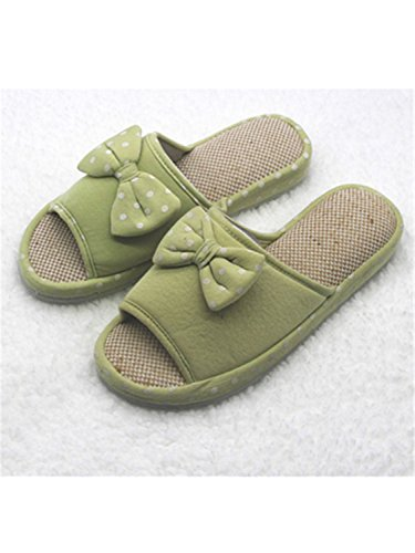 Candy Shoes Slippers green bow Bowtie Cartoon Slippers Home Color Slippers Women Flax Winter Bedroom Floor Indoor Cotton Home Jwhui Dot Warm dwRTH7dA
