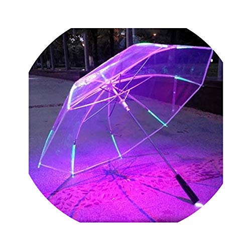 Light up Blade Runner Style Changing Color LED with Flashlight Transparent Handle Straight Umbrella Parasol (Up Umbrella Light)