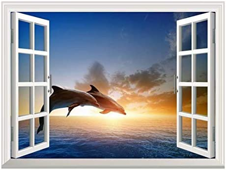 Removable Wall Sticker Wall Mural Beautiful Couple Jumping Dolphins at Sea Sunset Creative Window View Wall Decor