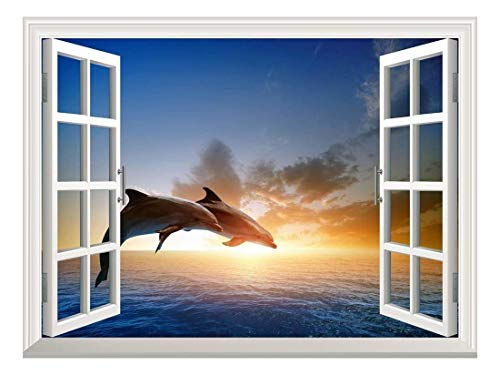 Dolphin Window - wall26 Removable Wall Sticker/Wall Mural - Beautiful Couple Jumping Dolphins at Sea Sunset | Creative Window View Home Decor/Wall Decor - 24