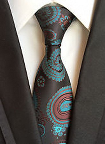 Jacob AleX #47234 Costume Geometric Blue Brown JACQUARD WOVEN Necktie