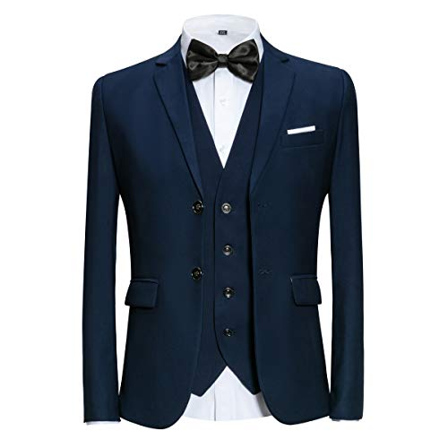 MAGE MALE Men's 3 Pieces Suit Elegant Solid Two Button Slim Fit Single Breasted Party Blazer Vest Pants Set Blue