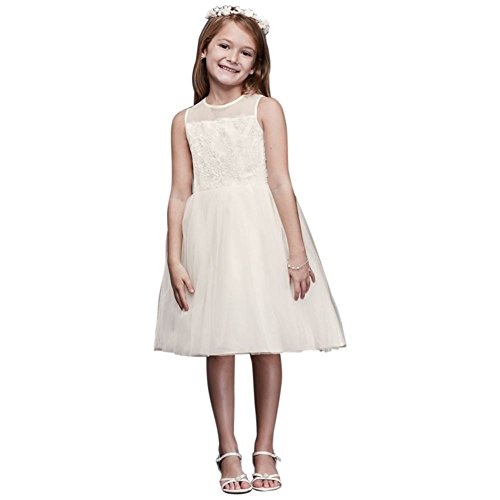 (Corded Lace Flower Girl/Communion Dress with Tulle Skirt Style OP228, Ivory, 4)