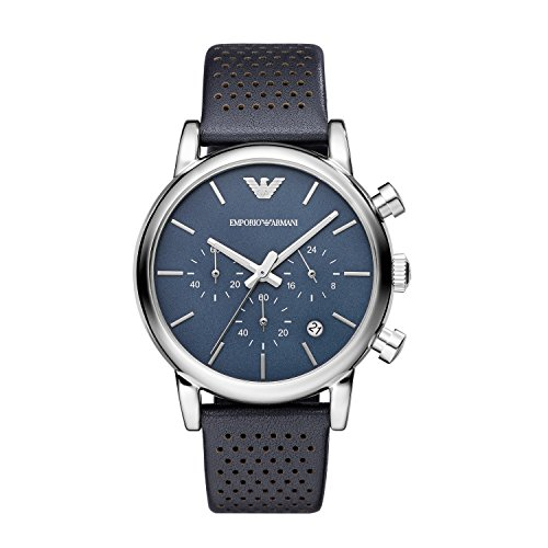 Armani Classic Chronograph Navy Dial Navy Leather Strap Mens Watch - Emporio 2014 Armani