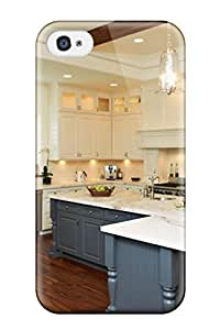 Iphone 4/4s Blue And White Kitchen Cabinetry Print High Quality Tpu Gel Frame Case Cover