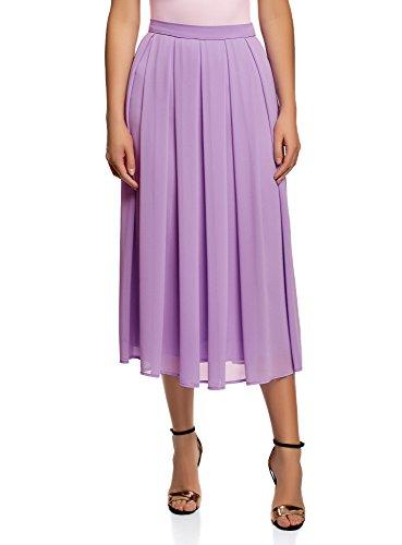 oodji Collection Femme Jupe  Plis en Tissu Fluide Violet (8000n)