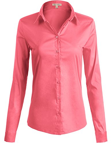 Simple Collared Stylish Button Down Solid Color Shirts,  109-Coral US S