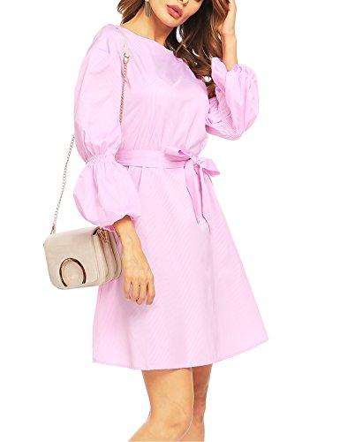 Split Wrap Pink Dress Vintage Sleeve Elegant Long Women's qwfARH