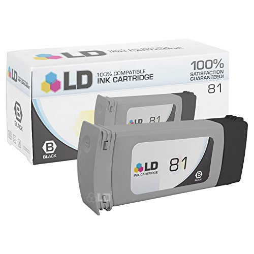 LD Remanufactured Replacement for HP 81 / C4930A Black Ink Cartridge for DesignJet 5000 Dye, 5000 Series, 5000ps Dye, 5500 Dye and 5500PS Dye