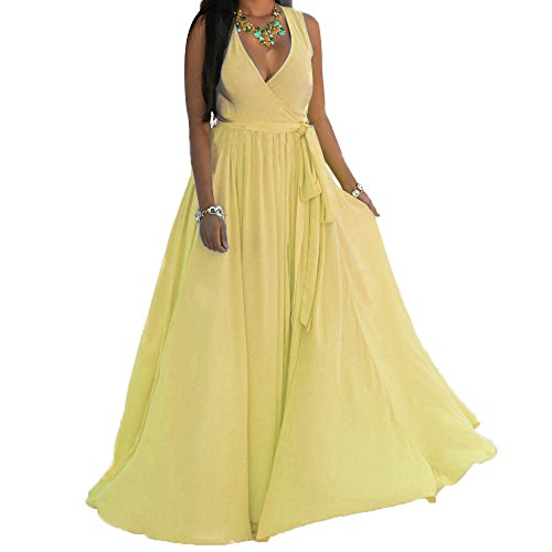 HannahZone Womens Sexy V Neck Sleeveless Long Maxi Split Evening Chiffon Summer Dress With Belt (Yellow Dresses For Women Evening)