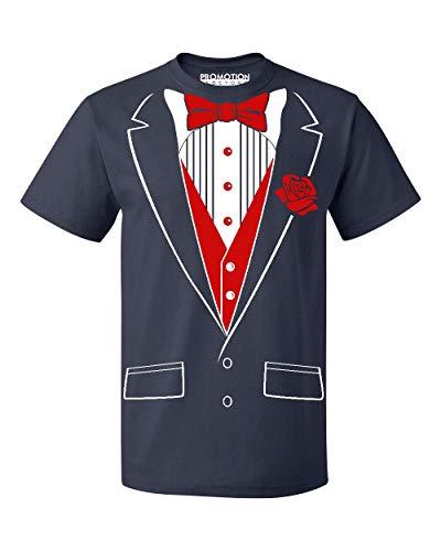 (P&B Tuxedo Red Rose Funny Men's T-Shirt, 3XL,)