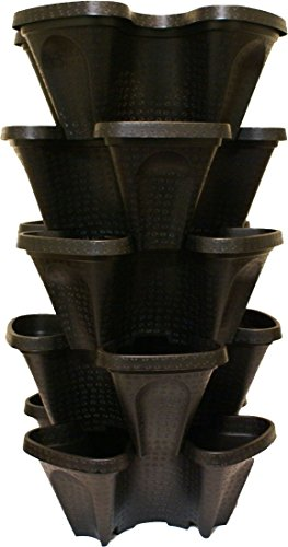 - Large 5 Tier Vertical Garden Tower - 5 Black Stackable Indoor / Outdoor Hydroponic and Aquaponic Planters (24 Quart Tower - 13x13x26)