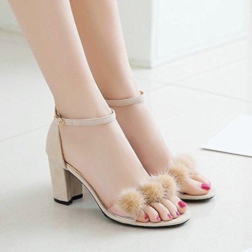 Donyyyy Señoras sandalias de tacón alto, moda de verano suede señoras tacón alto sandalias y zapatos de mujer. Thirty-seven