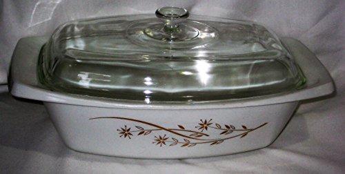 Vintage 1962-63 Pyrex Golden 22K Gold Honeysuckle Design Oblong Curve Deep Casserole Baking Dish w/ Lid
