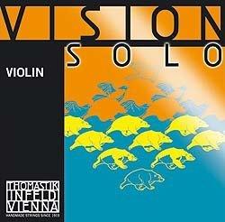 Thomastik Vision Solo 4/4 Violin String Set - Medium Gauge - with Silver Wound D (Silver Tone Tin)
