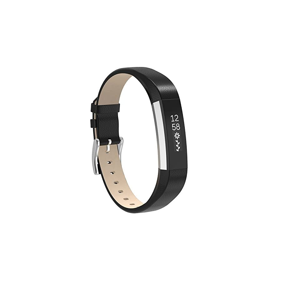 Henoda Replacemnt Leather Bands Compatible Fitbit Alta/Fitbit Alta HR, Classic Genuine Leather Wristband, Small Large, No Tracker