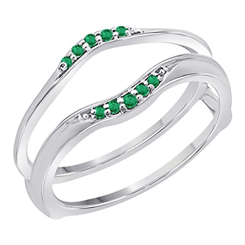 - Women's 14k Gold Plated 1/10 Ct Created Green Emerald Round Ladies Anniversary Wedding Band Guard Wrap Enhancer Solitaire Ring