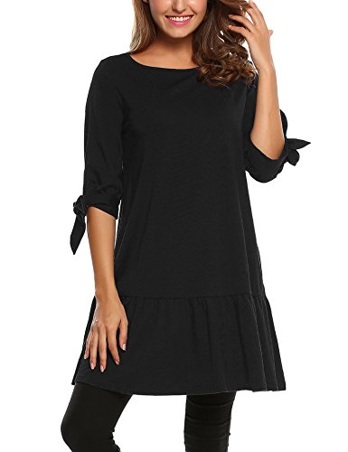 3 4 sleeve black mini dress - 9