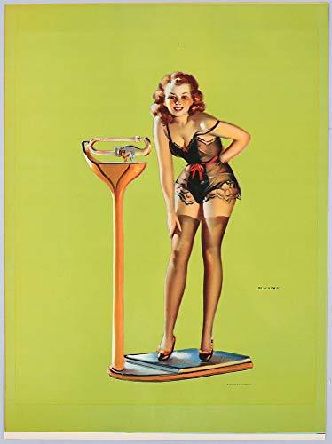 Vintage Original 1930s Gil Elvgren Art Deco Cheesecake Pin-Up Poster Figures Don't -