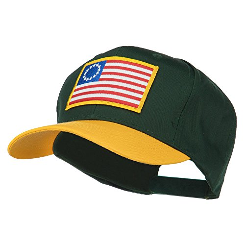 [Betsy Ross Flag Patched Cotton Twill Pro Style Cap - Gold Green OSFM] (Betsy Ross Hat)