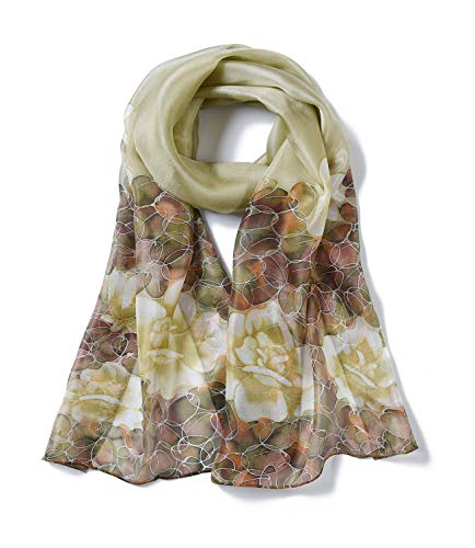 (Invisible World Women's 100% Mulberry Silk Scarf Long Hand Painted Floral-Tan)