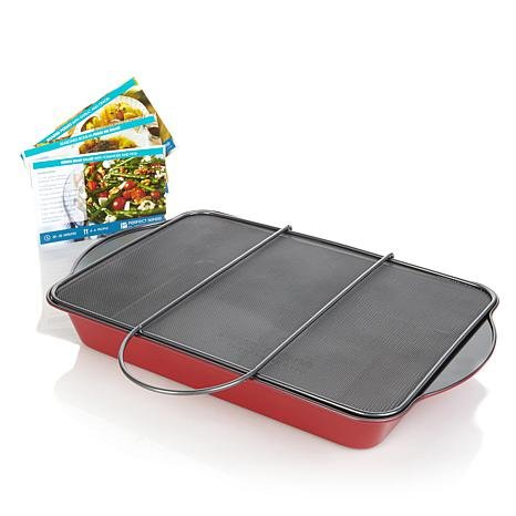 Perfect Sense Oven Splatterguard with Nonstick Roasting Pan (Red)